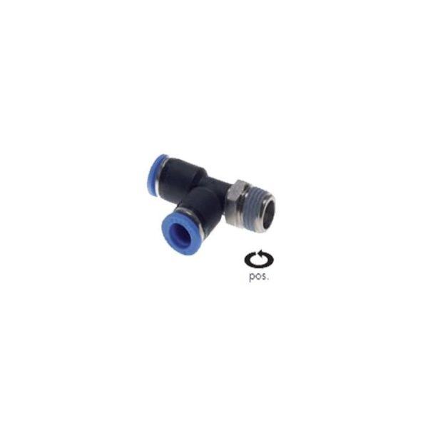 """Trójnik wtykowy kształt L gwint zewnętrzny 3/8"""" 8 mm"""