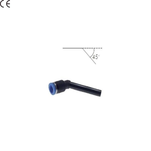 Łącznik kątowy 45 stopni ze złączką wtykową przedłużony 4 mm