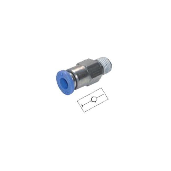 """Złączka prosta wtykowa z zaworem zwrotnym PCVC 3/8"""" 10 mm"""