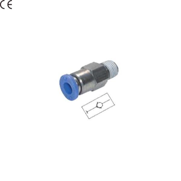 """Złączka prosta wtykowa z zaworem zwrotnym PCVC 3/8"""" 12 mm"""