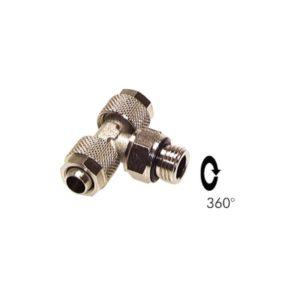 """Trójnik skręcany obrotowy G 1/4 """" 8 x 6 mm"""