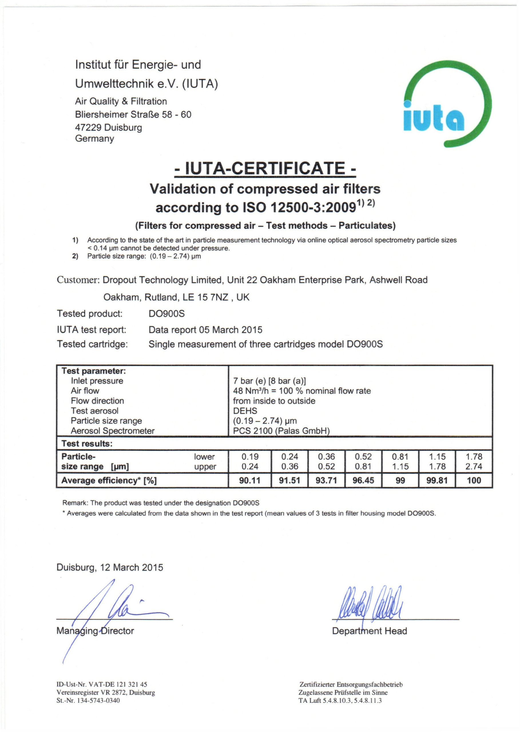 DROPOT ISO12500 3 CERTIFICATE